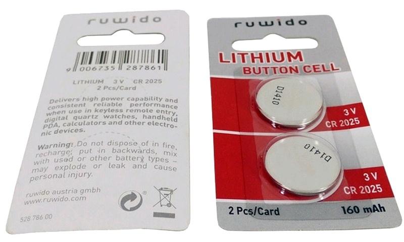 Bateria litowa CR2025 Ruwido 3V 160mAh