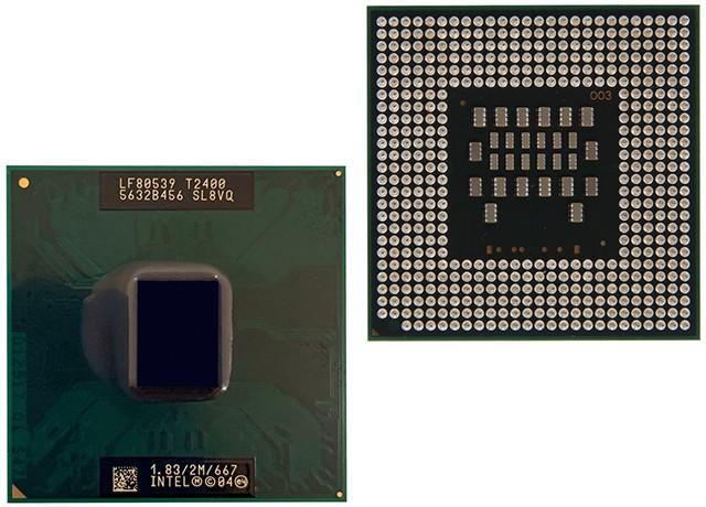 Intel Core Duo T2400 tył przód