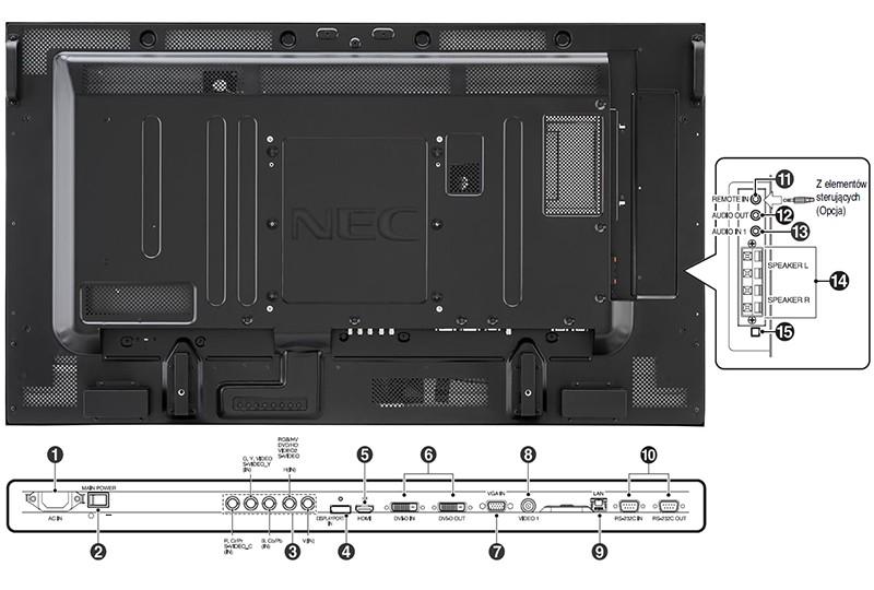 NEC Multisync V552 porty